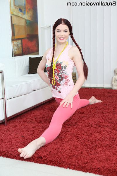 Pigtailed redhead old bag lovenia lux takes turns unsporting their big