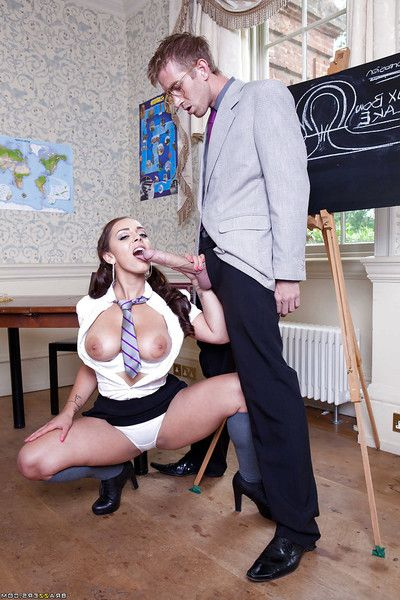 Filthy schoolgirl not far from big jugs gets shagged wits her horny teacher