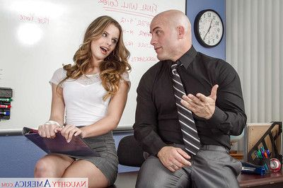 Young-looking secretary Jillian Janson is sucking her boss\