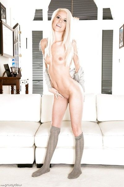 Shrunken young hottie Halle Von posing in socks and luring panties