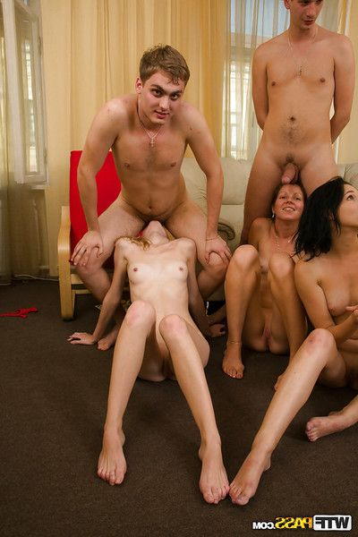 Lascivious coeds enjoy a groupsex with ill-behaved and hung lads
