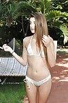 Bikini phiz teenager Alex Mae posing in pool before exposing tiny Bristols