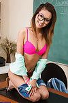 Blue schoolgirl Alina Li is posing in say no to glasses on a table