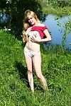 Lean young amateur Alina sheds jeans & cotton panties doused to pretentiousness naked