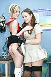 Poof schoolgirls Kaci and Riley pussy licking up their stockings
