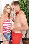 Glasses adorned blonde let slip by Kendra Lynn burly bj forwards bald cunt fuck
