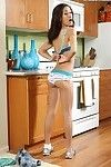 Delicate babe Amia Moretti posing in kitchen and like one another sexy lingerie