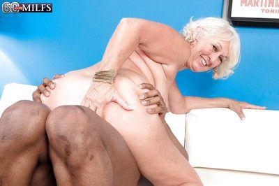Horny granny Jeannie Lou is into interracial hardcore fucking