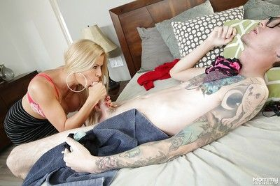 Buxom blonde mom Alexis Fawx giving big cock a tongue licking blowjob