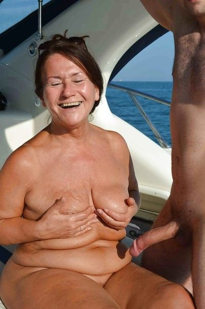 Granny Tinny Rados is getting getting cumshot right on the boat