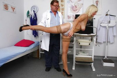 Aged blonde Mia and her saggy granny tits undergo kinky doctor exam