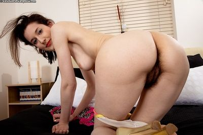 Older solo model Tiffanny loosing natural hairy cunt from pretty panties
