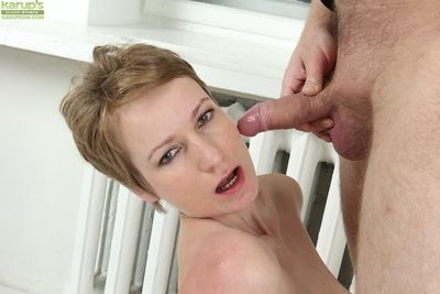 Short haired mature MILF Nensy swallowing jism after face fucking