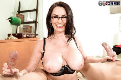 Granny in glasses Rita Daniels gets her holes rampaged by young guys