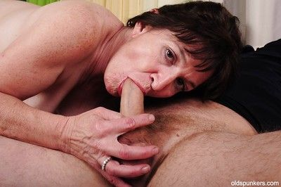 Brunette granny Anna does the best blowjob to her younger lover