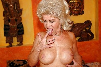 Lusty granny with huge jugs gets her unshaven vag nailed hardcore