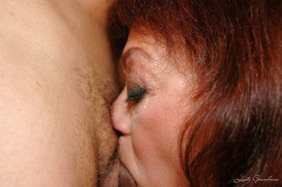 Lusty granny gets her hairy cunt fucked by toy and hard cock