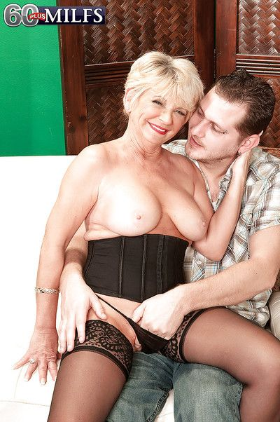 Horny granny in black stockings DeAnna Bentley drilled by a stiff cock