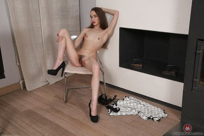 Skinny aged Latina Rose revealing all natural cunt underneath black panties