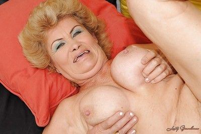 Salacious granny fucks a young cock and gets her bush glazed with cum