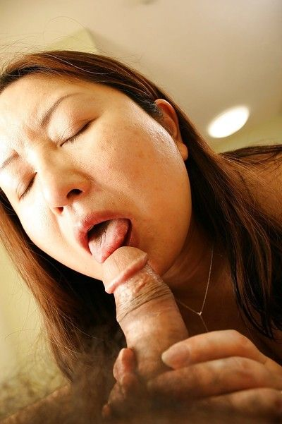 Asian slut Miyoko Nagase gets her shaggy twat banged and creampied