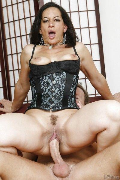 Hardcore fuck of a brunette mature pornstar Melissa Monet in lingerie