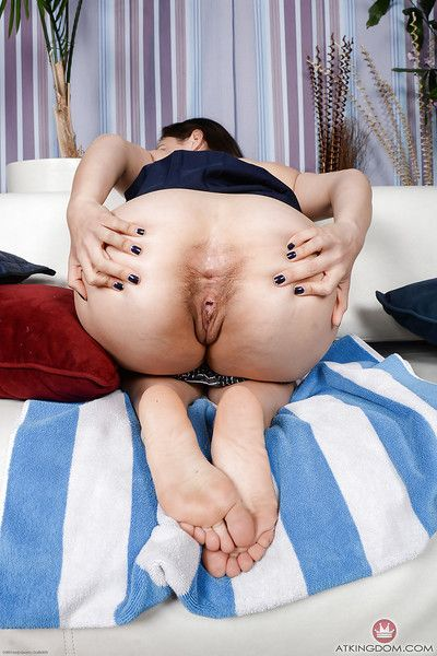Mature brunette Lisa Smith sliding panties over ass before cunt stretching