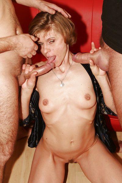 European granny pornstar taking cumshots after giving threesome blowjobs