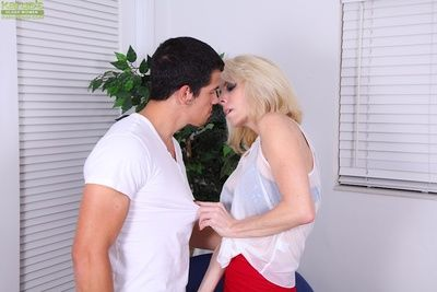 Slutty mom gives a blowjob with ball licking for cum in her eager mouth