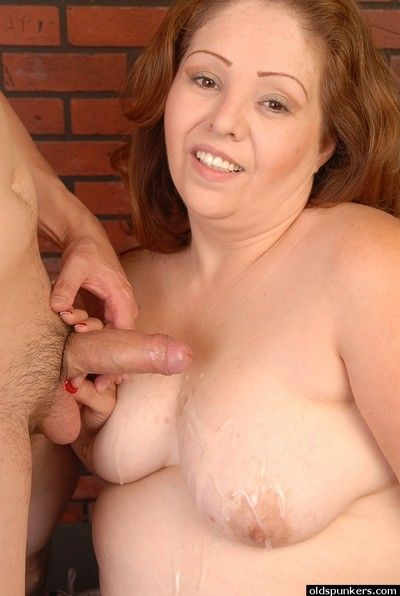 Obese older woman Cyn sucking cock and eating cumshot off of tits