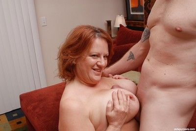 Mature fatty with big tits Brandy dose blowjob and licks balls