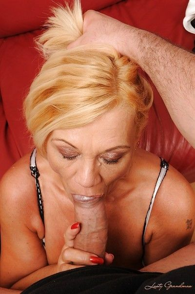 Filthy blonde granny playing with her sex toys and with a stiff dick