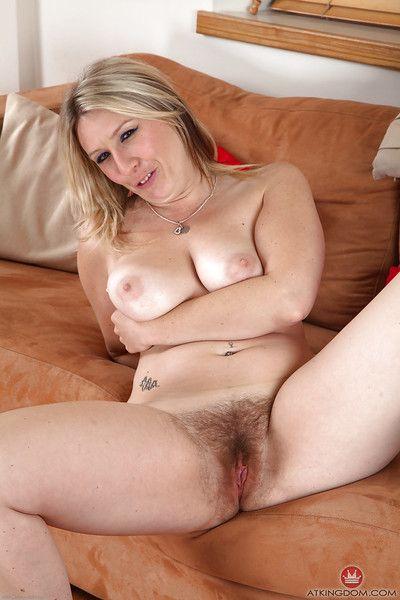 Older broad Mel Harper releasing all natural vagina from white see thru undie
