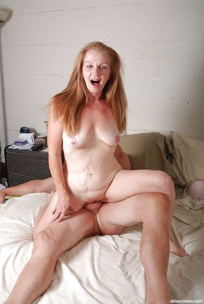 Old cowgirl Tiffany has her granny pussy nailed hardcore in close up
