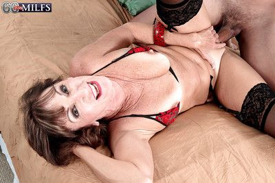 Horny granny Sydni Lane getting vaginally and anally fucked by younger man