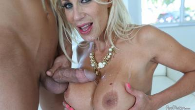 Busty blonde MILF Puma Swede enjoys nasty hardcore sex and gets her face glazed with cum shots
