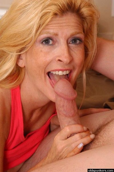 Big boobed older lady Sugar fucking younger dude in kitchen