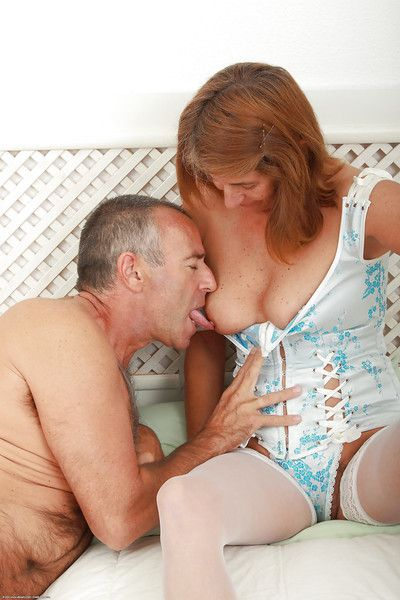 Horny aged woman Meg having hairy granny cunt licked out before intercourse