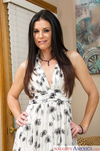 Mom babe India Summer slowly undresses her sexy outfit in front cam