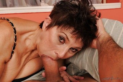 Horny granny in stockings Margo T. gets ass fucked and fingered