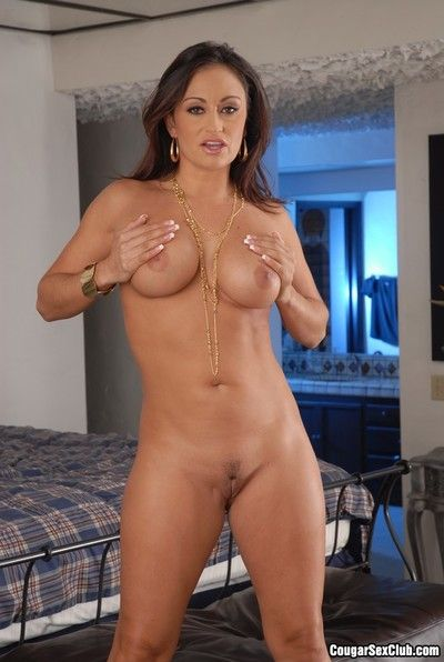 Hot bodied busty milf Katja Kassin poses in lingerie and in her bare skin