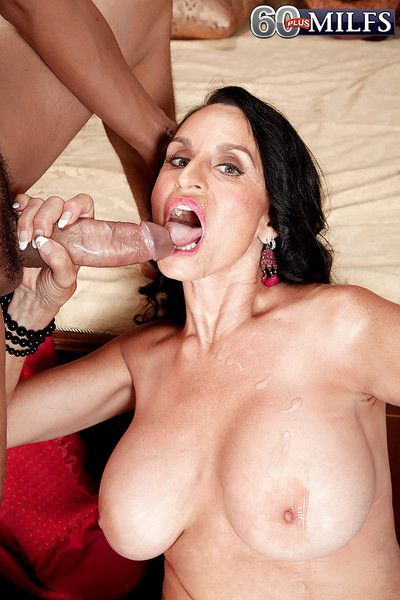Brunette granny Rita Daniels cannot stop sucking and riding a big hard cock