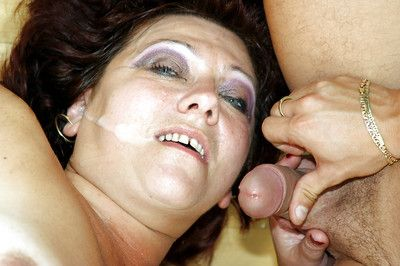 Mature fatty gets rammed by huge piston and receives cum on face