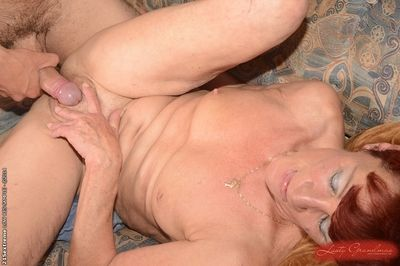 Beautiful granny Angela Reed enjoys hardcore sex with her young lover