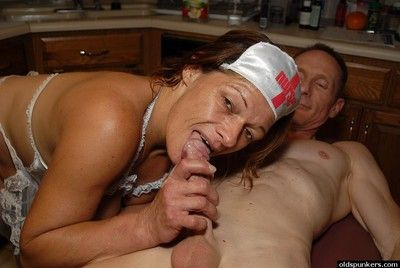 Slutty granny nurse Ivee jerking off husband\