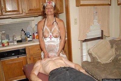 Slutty granny nurse Ivee jerking off husband\