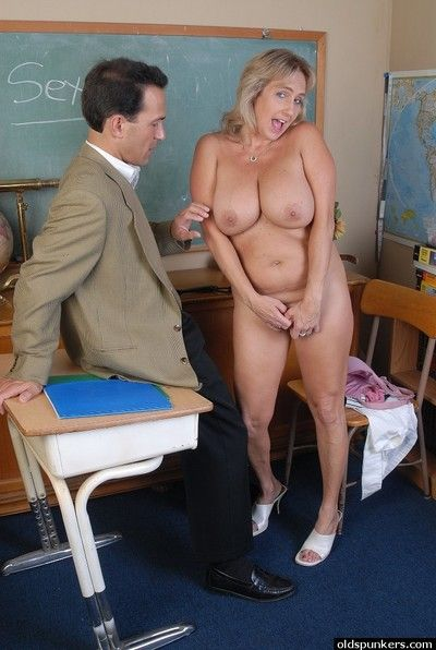 Naughty older teacher Wanda gets nude for the very first time