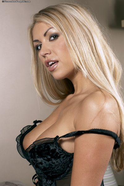 Horny lingerie milf with blonde hair Anette Dawn is demonstrating the big boobs
