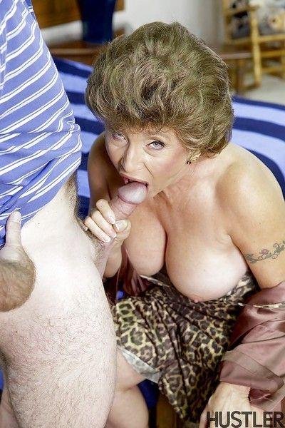 Busty granny pornstar Luna Azul tit fucking and jerking dick