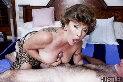 Busty granny pornstar Luna Azul tit fucking and jerking dick